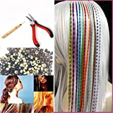 Feather Hair Extension Kit with 26 Synthetic Feathers, 100 Beads, Plier and Hook (Tamaño: 26 PCS)
