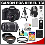 Canon EOS Rebel T3i Digital SLR Camera Body & EF-S 18-55mm IS II Lens with 55-250mm IS Lens + 16GB Card + .45x Wide Angle & 2x Telephoto Lenses + Tripod + Case + Battery + Remote + (2) Filters + Accessory Kit