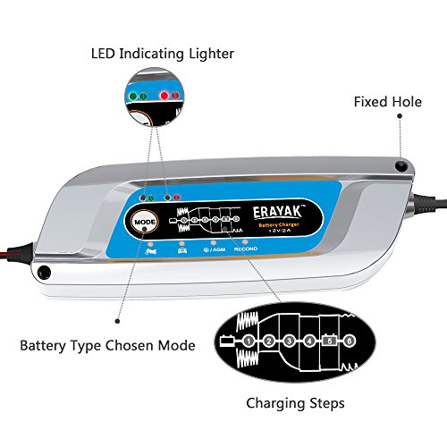 Erayak 12v 2a Automatic Battery Charger Maintainer For