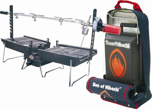 Mr. Flame Son of Hibachi Grill/Griddle Combo with Snuff-Out Pouch and Rotisserie