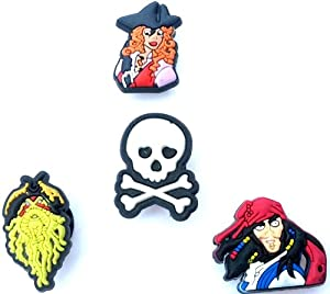4 pcs Pirates of the Carribean Shoe Charms Captain Jack Sparrow Scull