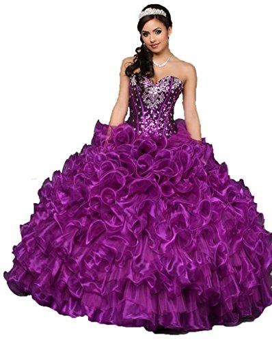 Romantic Women's Strapless Beaded Ruffles Organza Ball Gown Prom Quinceanera Dresses Purple 16