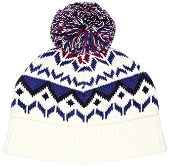 Musto Unisex Geometric Fairisle Bobble Beanie Hat, Off-White (Ivory), One Size