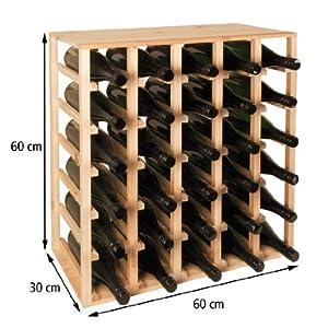 Cantinetta / scaffale per vino / sistema QUADRI per 30 bottiglie, legno di pino, ampilabile ...