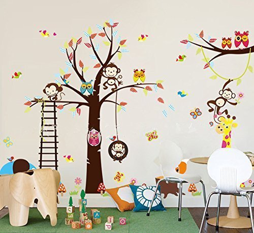haya TM Lovely blooms zoo nursery children's room decorative wall stickers Kids Vinyl Sticker Home Decoration