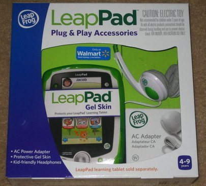 Leapfrog Leappad Learning Tablet Plug & Play Accessories (Green) Gel Skin, Ac Adapter And Headphones