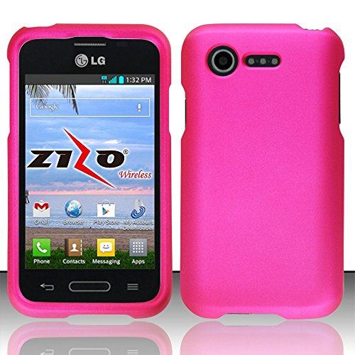 LG Optimus Fuel L34C Pink Rubberized Plastic Cover Snap On Hard Rugged Gel Case Cell Phone Shield Protector Shell from [Accessory Library] (Lg Optimus Fuel Cell Phone compare prices)