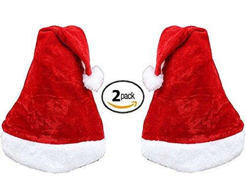 2 Pack Plush Santa Hat