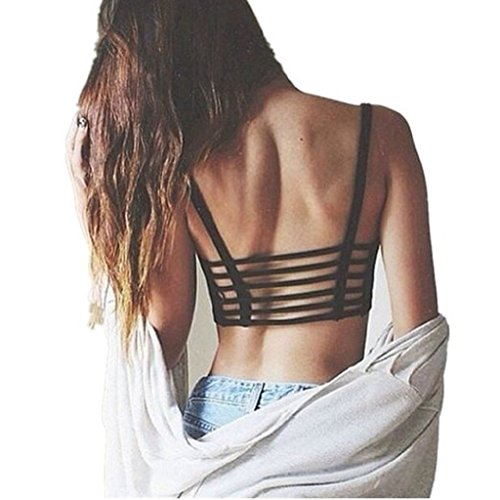 Internet Donna Crop Tops Strap Vest cut-out Camicia Beach Tank (Dimensioni libero, Nero)