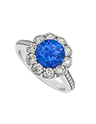925 Sterling Silver September Birthstone Sapphire And Cubic Zirconia Halo Engagement Ring