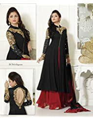 Rjcreation Black Red Color Georgette Party Wear Embroidered Semi Stitched Salwar Suit (RJ_Black-Red)