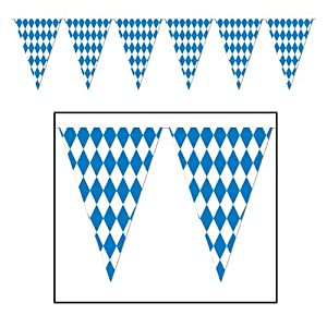 Beistle 120 Foot Oktoberfest Bavarian Check Flag Pennant Banner from Beistle