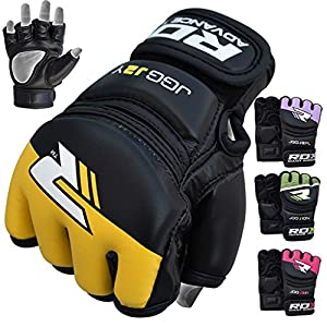 RDX Kids Maya Hide Leather MMA Grappling Gloves UFC Youth Cage Fighting Sparring Glove Training