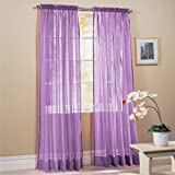 2-Piece Solid Lavender Purple Sheer Window Curtains/Drape/Panels/Treatment 60w X 84