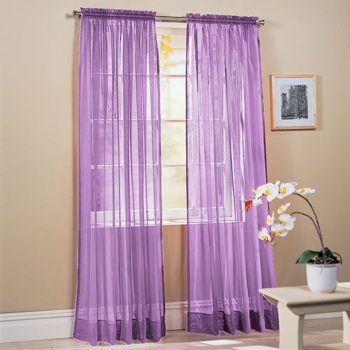 Piece Solid Lavender Purple Sheer Window Curtains/Drape/Panels ...