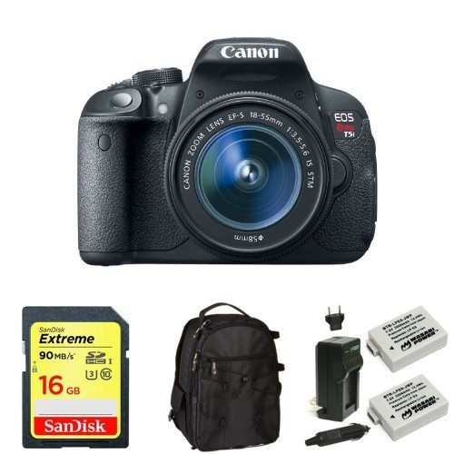 Canon EOS Rebel T5i Digital SLR with 18-55mm STM Lens + Memory Card, Bag and Battery