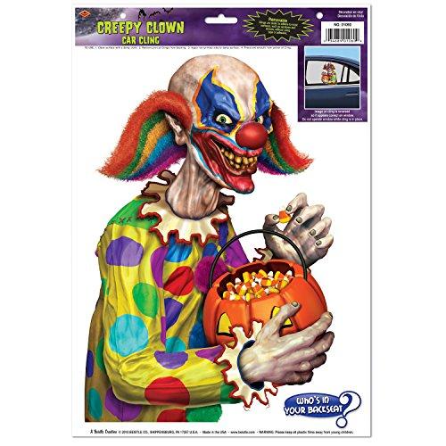 [Evil Creepy Clown Backseat Driver Car Window Cling Decor Halloween Trick Treater] (Driver Seat Halloween Costume)