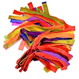 Rainbow Ribbon, FINER 12Pcs Hand Held Dance Rainbow Ribbon Toys for Kids Children - Random Color