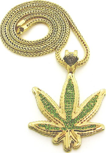 Cannabis Weed Pot Leaf Iced Out Gold Color Pendant Necklace Regular