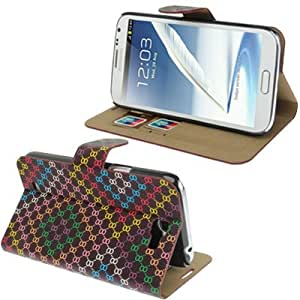 Color Squares Left and Right Open Leather Case with Credit Card Slots for Samsung Galaxy Note 2 N7100