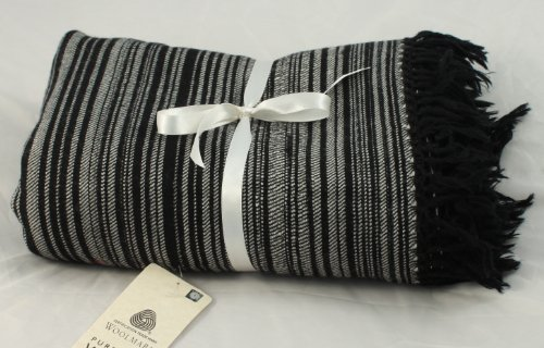Forest Textured Stripe Black MerinoThrow Blanket