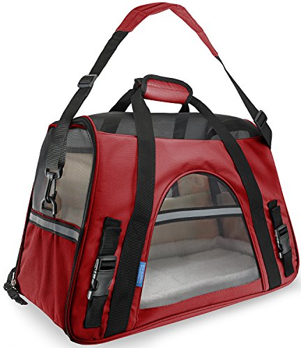 OxGord Airline Approved Pet Carriers w/ Fleece Bed For Dog & Cat – Large, Soft Sided Kennel – 2016 Newly Designed Model, Crimson Red