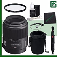 Sony 100mm f28 Alpha A-Mount Macro Lens Green39s Camera Bundle 1