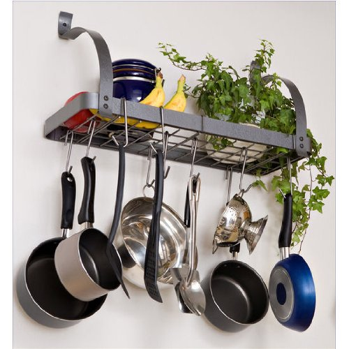 Rack It Up Bookshelf Wall Rack, Steel Gray (Shelf For Pots And Pans compare prices)