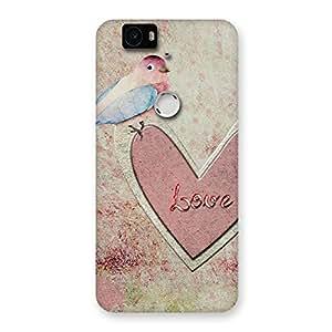 Premium Bird On Heart Print Back Case Cover for Google Nexus-6P
