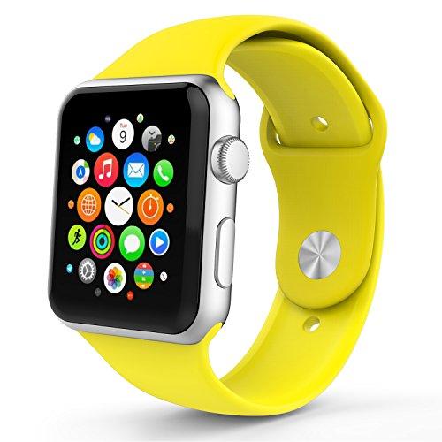 Apple Watch Bracciale, MoKo Morbido Cinturino di ricambio in silicone per Tutti i Modelli Apple Watch 42mm, GIALLO (3 pezzi di bande inclusi per 2 lunghezze, Non adatta Apple Watch 38mm 2015)