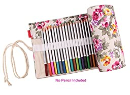 Boxun Canvas Roll Pencil Wrap(No Pencil Included),Handmade by 100% Cottton,Pencil Holder for 48 Color Pencils
