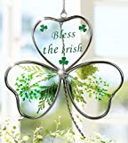 Shamrock - Garden Suncatcher - Pressed Flowers Inside a Glass Shamrock - Bless the Irish Printed on the Glass - St Patrick's Day Decoration, Irish Gift, Mom, Mother-in-law, In-law Gift, Irish Family, Garden