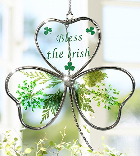 Shamrock - Garden Suncatcher - Pressed Flowers Inside a Glass Shamrock - Bless the Irish Printed on the Glass - St Patrick