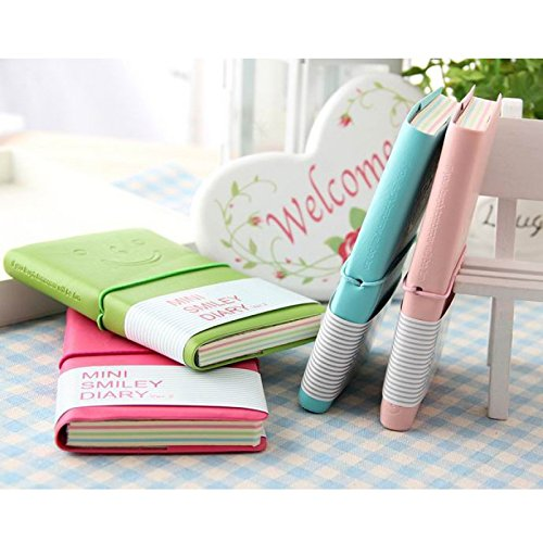 Great Value Desk Accessories 3Pcs Mini Smiling Face Pattern Leather Case Notebooks Red & Pink & Light Pink