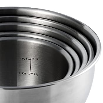 X-Chef Stainless Steel Mixing Bowls Set With Lids, Measurement Marks, Non-Slip(Set of 5) Mothers Day Gift