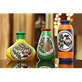 Craftbell Miniature Madhubani Table Pots In Terracotta Set Of 3 - Gift Items/Home Décor