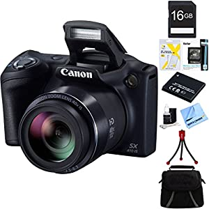 Canon Powershot SX400 IS Red Digital Camera 16GB Bundle Includes: Powershot SX400 IS Digital Camera with 16MP 30x Optical Zoom 720p HD Video - Red, Carrying case, 16GB Memory Card, Spare Battery, Mini Tripod, Card Reader, & more