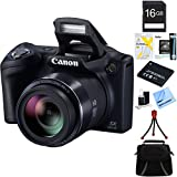 Canon Powershot SX410 IS 20MP 40x Optical Zoom HD Digital Camera (Black) 16GB Bundle Includes Spare Battery, Memory Card, Camera Bag, Card Reader, Card Wallet, Mini Tripod, Cleaning Kit, and More