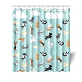 """66""""(w) x 72""""(h) Cute Funny Raining Cats & Dogs Bathroom Shower Curtain Shower Rings Included, 100% Polyester"""