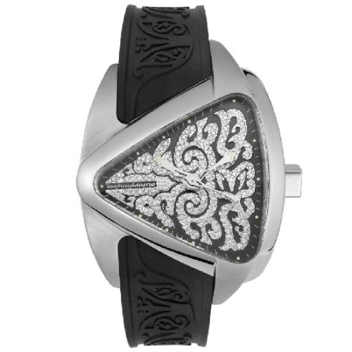 The Black with diamond tattoo dial is covered in Stainless steel.