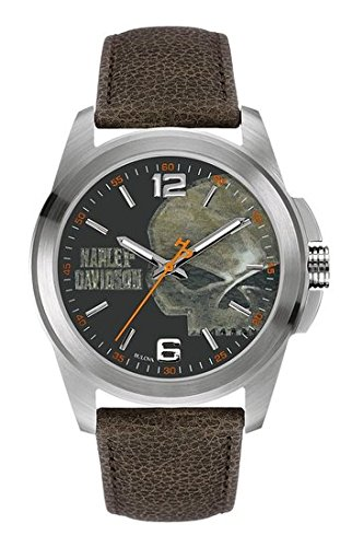 harley-davidsonr-mens-bulova-watch-vintage-willie-g-skull-brown-strap-76a146