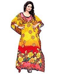 Justkartit Women's Yellow Colour Free Size Party Wear Kaftan / Loose Fitting Floral Printed Straight Ankle Length Kaftan / Beachwear Kurta (With waist Adjustment Tie-Knot Belt Attached Inside)