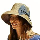 (エッジシティー)EdgeCity 夏の紫外線対策 折りたたみ可能なUVカットできる大きいリボンのつば広帽子 000399-0000 ランキングお取り寄せ