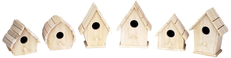 Darice 9180-08 Value Promo Wooden Sparrow Birdhouse, Assorted 1 Piece