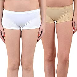 Mynte Women's Sports Shorts (MEWIWCMBP-SHR-101-96, White, Beige, Free Size, Pack of 2)