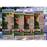 Philips Tornado Classic Combo Pack 15,20,23,27-Watt CFL Bulb (Cool White and Set of 4)