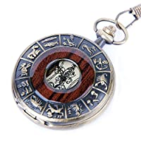 Skeleton Pocket Watch Chain Mechanical Hand Wind Vintage Zodiac Design Full Hunter Value Quality - PW15