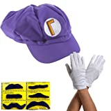 Super Mario Waluigi Cap PURPLE Set of 3 + 6x + beards Gloves Costume Cap Hat Hut Nintendo Super Mario Bros known from N64 SNES Wii Gameboy carnival costumes carnival costumes carnival carnival costume thematys®