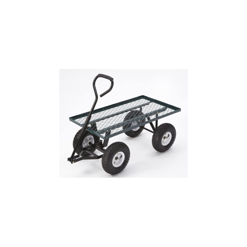Farm & Ranch FR100F Steel Flatbed Utility Cart with Padded Pull Handle and 10 Inch Pneumatic Tires, 300 Pound Capacity, 34 Inches by 18 Inches, Green Finish