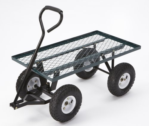 Farm-Ranch-FR100F-Steel-Flatbed-Utility-Cart-with-Padded-Pull-Handle-and-10-Inch-Pneumatic-Tires-300-Pound-Capacity-34-Inches-by-18-Inches-Green-Finish
